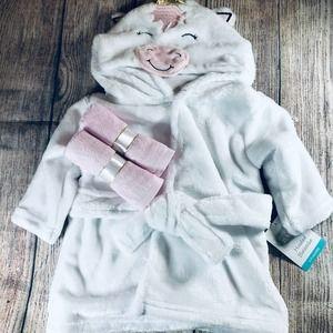 NWT Unicorn Baby Robe/Washcloth Set
